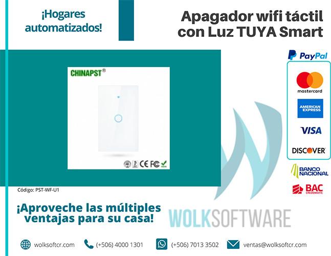 Apagador wifi táctil con Luz TUYA Smart | 1 Canal | PST-WF-U1