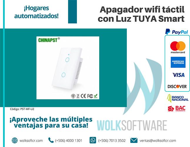 Apagador wifi táctil con Luz TUYA Smart | 2 Canales | PST-WF-U2