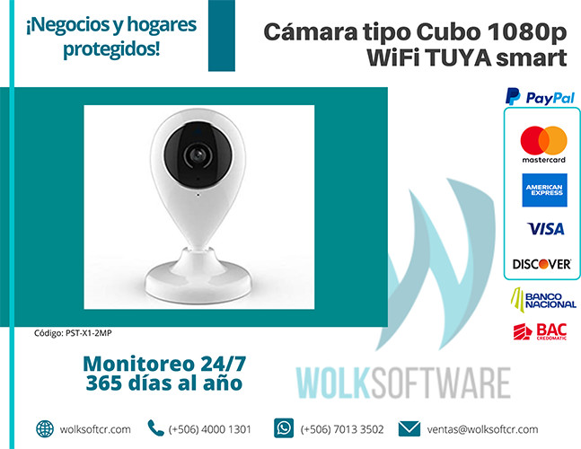 Cámara tipo Cubo 1080p wifi tuya Smart | PST-X1-2MP