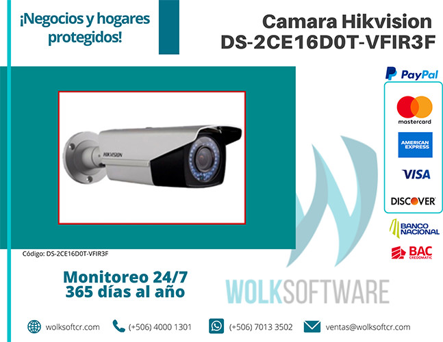 Cámara Hikvision DS-2CE16D0T-VFIR3F