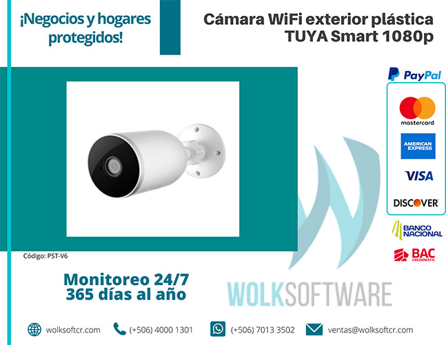 Cámara Wifi exterior plástica tuya Smart 1080p   PST-V6