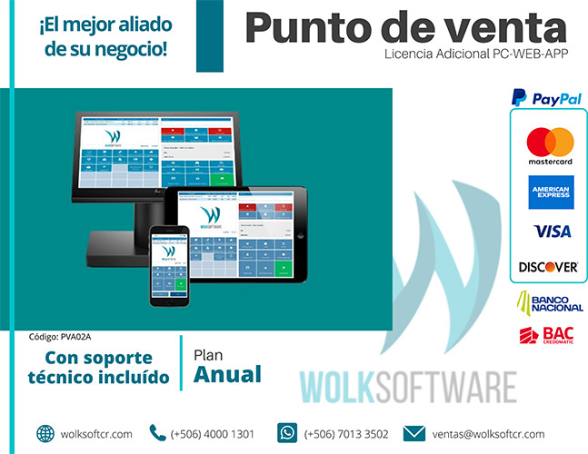 LICENCIA ADICIONAL DE PUNTO DE VENTA   PC,WEB Y APP  ANUALIDAD