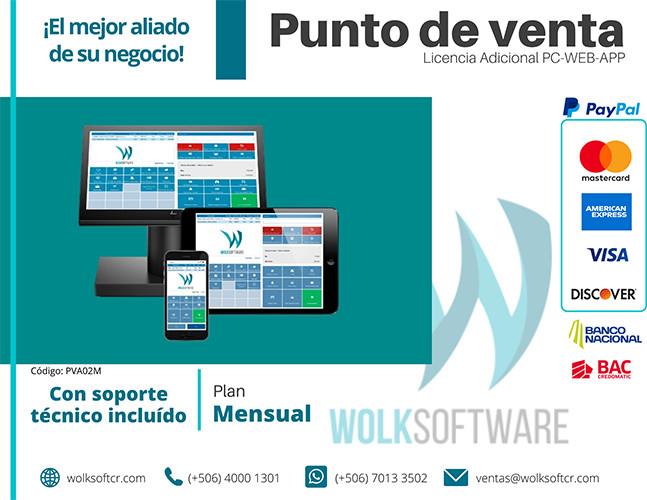 LICENCIA ADICIONAL DE PUNTO DE VENTA   PC,WEB Y APP   MENSUALIDAD