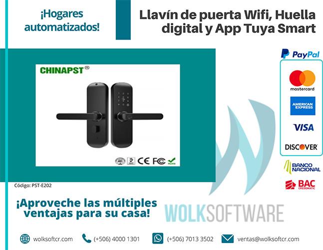 Llavín de puerta Wifi, Huella digital y App Tuya Smart | PST-E202