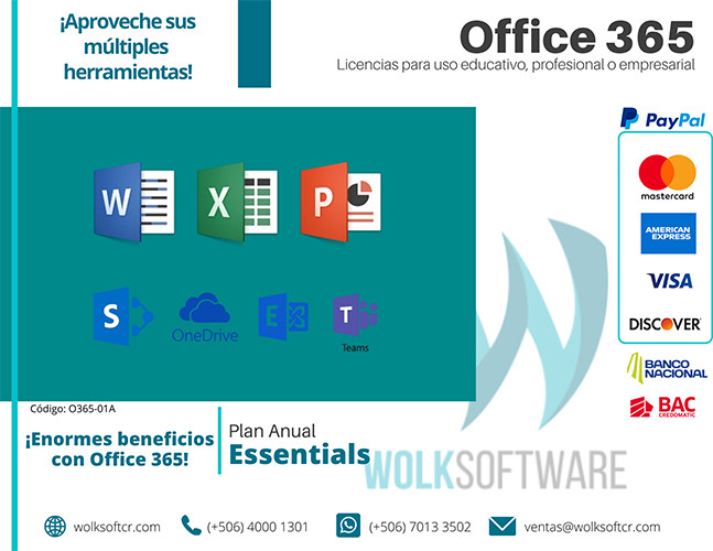 Licencia de Office 365 Essentials | Anual