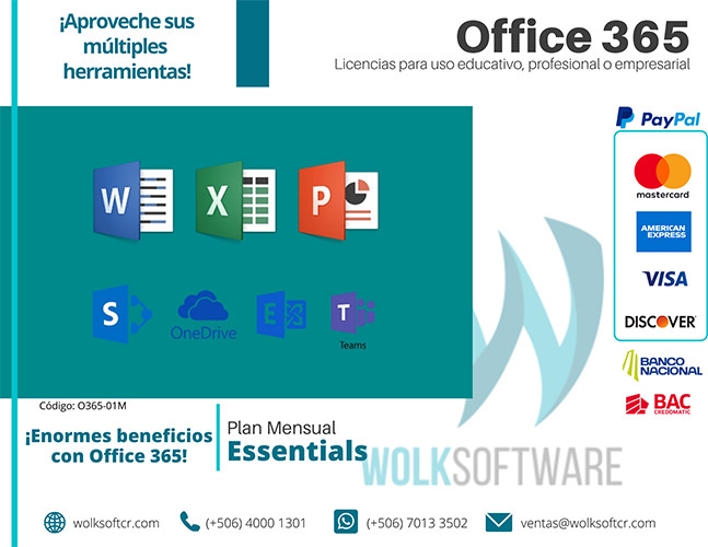 Licencia de Office 365 Essentials | Mensual