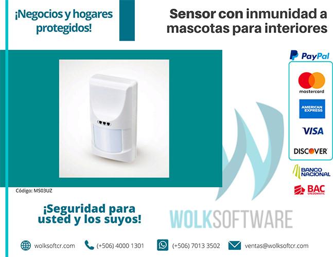 Sensor con inmunidad a mascotas para interiores | MS03UZ