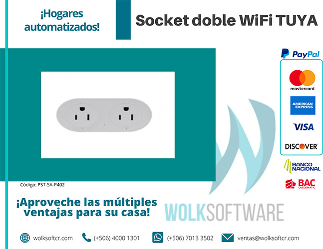 Socket doble wifi TUYA | PST-SA-P402