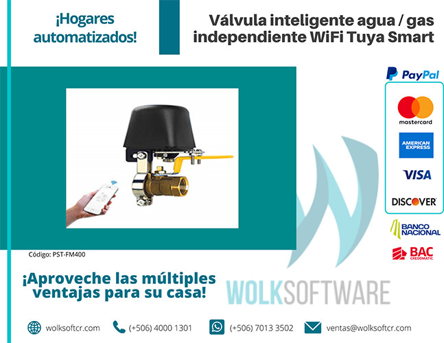 Válvula inteligente agua / gas independiente Wifi Tuya Smart | PST-FM400